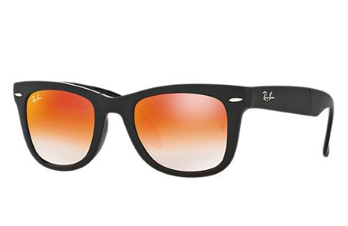 Ray Ban Wayfarer Orange Gradient Flash Sunglasses Womens Size 50 22 140 Black Lentes