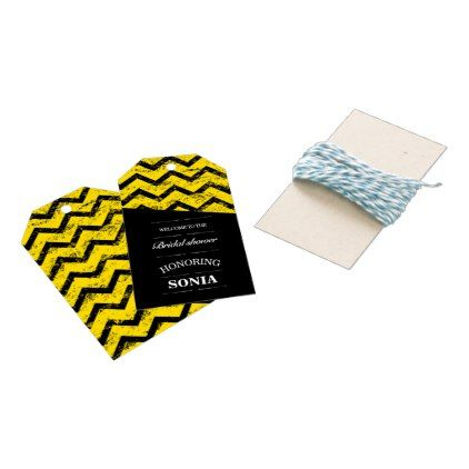 Black and yellow  Chevron Bridal Shower Wedding Gift Tags - shower gifts diy customize creative