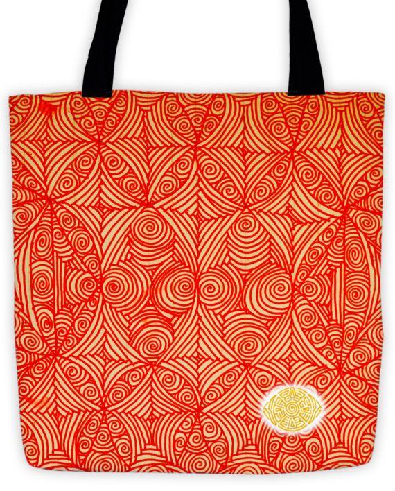 Opulent Orange Scribble Tote by: Eyes of Beijing