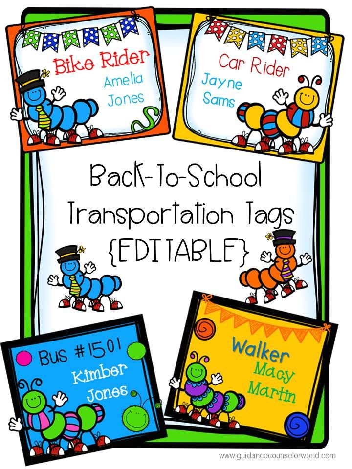 Back-to-School Transportation Tags include tags for bus riders, car riders, walkers, and bike riders. Caterpillar-themed. These tags are editable so you can change the names of the students. Print these tags on card stock, punch holes in the top, and make a necklace of these so they're reusable. Laminate for longer usage.