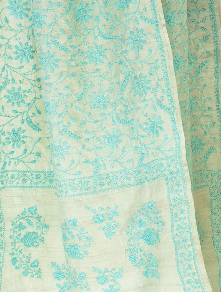 Blue-Ecru Tussar Chikankari Stole Embroideries of India : Chikankari - www.jaupore.com