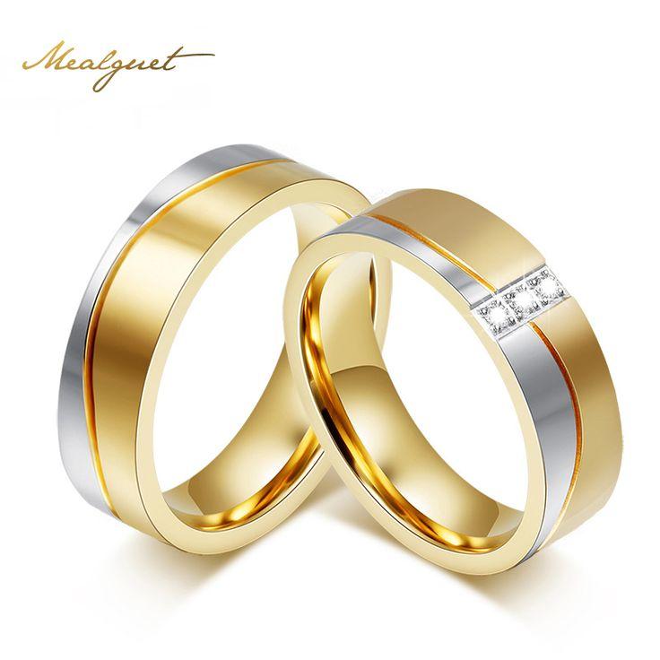 Meaeguet sieraden trouwringen voor mannen/vrouwen gold-kleur rvs verlovingsring