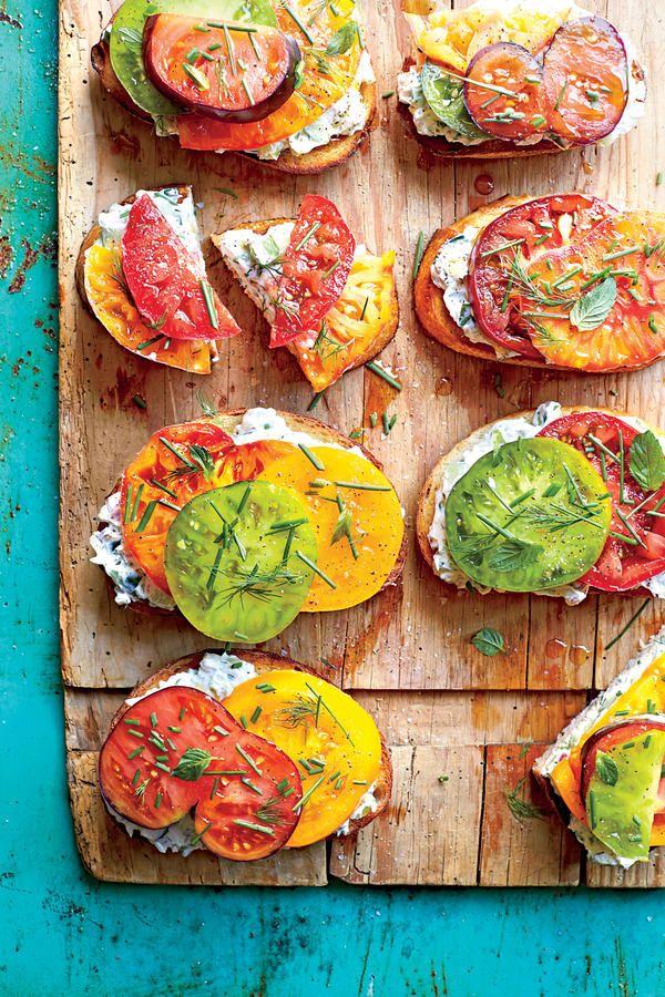 Summer Farmers' Market Recipes: Open-Faced Tomato Sandwiches with Creamy Cucumber Spread