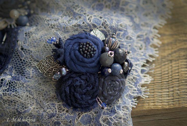 Купить Брошь Персидская синь - тёмно-синий, синий, индиго, брошь, брошь ручной работы