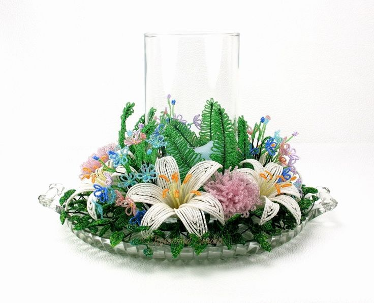 Lily Beaded Flower Candle Ring - French Beaded Flowers, via Etsy.