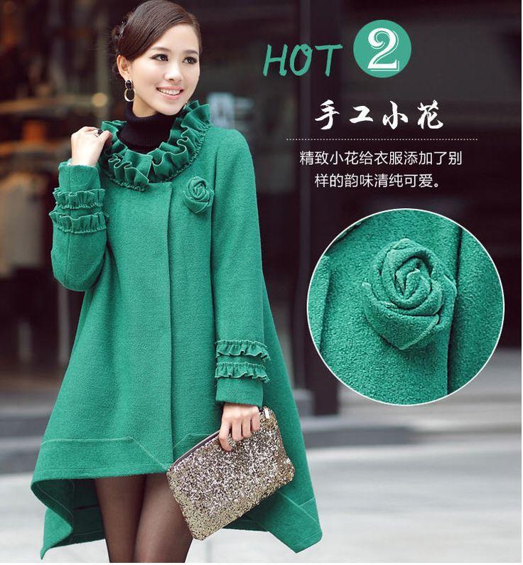 Nuevo 2014 vestido Hem cabo abrigo de mujer otoño invierno Mm grasa embarazada abrigo de lana mujeres abrigos de guisantes largas mujeres envío gratis B1957(China (Mainland))