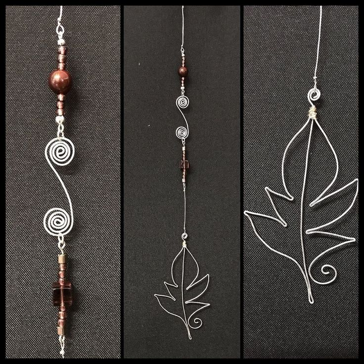 Suncatcher now available! Brown and silver. Handmade leaf and swirl pendants! #torileydesigns #available #handmade #brown #leaf #swirl #suncatcher #wire #curly #simple #beautiful #beads http://ift.tt/2rLdB4E