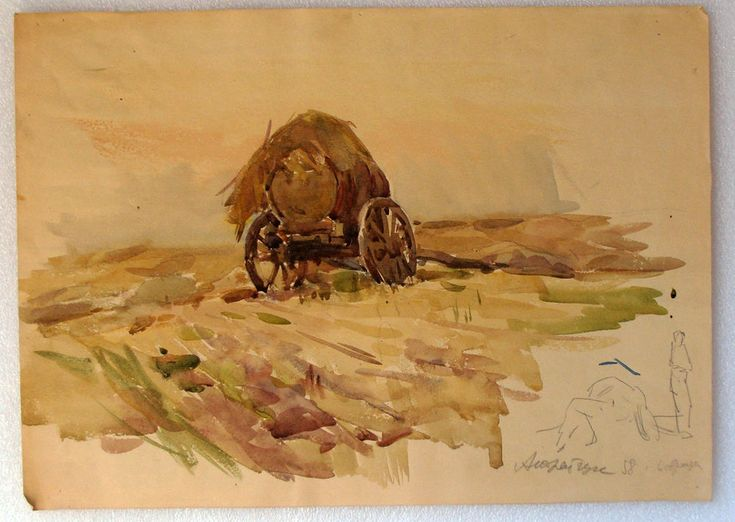 Original Ukrainia Social Realism USSR Drawing Painting Watercolor Vintage 1958 #Realism