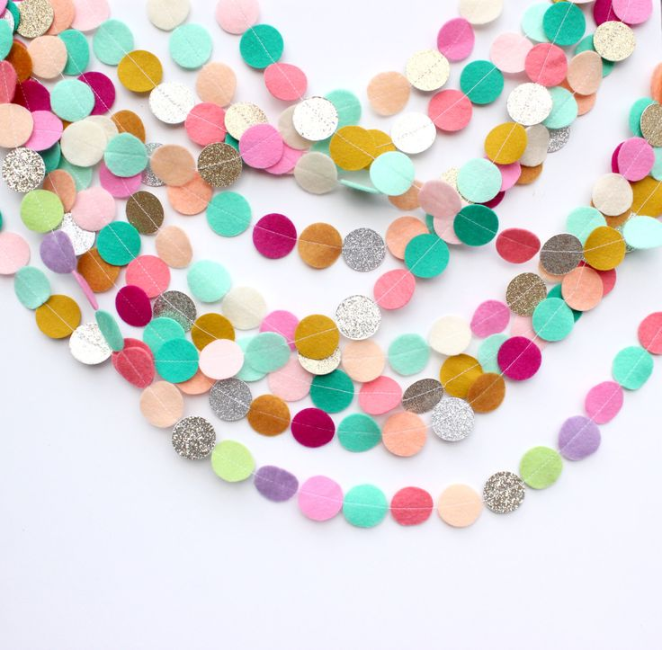 Custom Felt and Glitter Circle garland: create your own/list