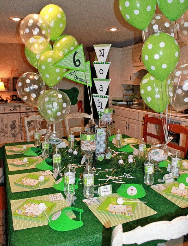 Golf party Noah is 6 Crafts, Theme parties and Balloons