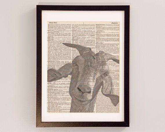 Vintage Goat Dictionary Print - Goat Art - Print on Vintage Dictionary Paper - Funny Gift Idea - Goat Print - Goat Photograph