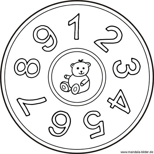 Zahlen Mandala Mit Den Zahlen Eins Bis Neun Zahlenbild Mandala