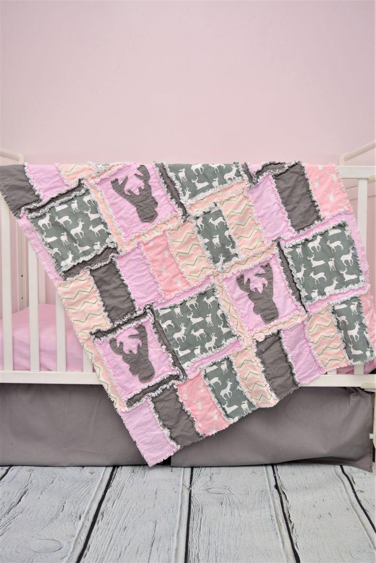 Baby Girl Crib Bedding - Gray, Baby Pink - Woodland Crib Bedding