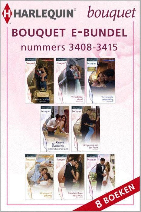 Bouquet e-bundel nummers 3408-3415 (8-in-1)  Kiest u voor gemak én extra voordeel? Met deze bundel heeft u in één keer alle acht Bouquet-romans (nummers 3408 t/m 3415) van de maand in handen. Zo kunt u lekker doorlezen en nog gemakkelijker genieten van uw favoriete reeks! (1) PRINSES IN DE SCHADUW van MAISEY YATES - (De Kroon van Santina) Prinses Carlotta schrikt van haar onverwacht heftige reactie op prins Rodriguez. Ze moet het hoofd juist koel houden in zijn nabijheid! (2) VERLEIDELIJKE…