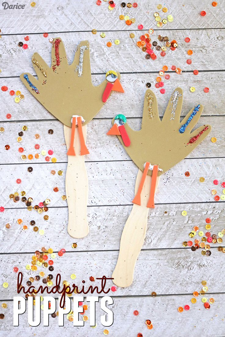 Handprint Turkey Puppets - Kid Craft Idea