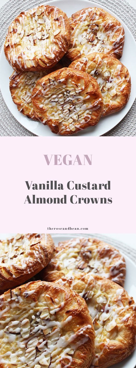 Flaky pastry, sweet custard and toasted almonds, these vegan vanilla custard almond crowns are the perfect weekend brunch treat.