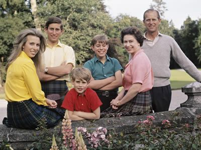They Royal Family: Prince Phillip, Queen Elizabeth ll, Prince Charles, Prince Edward, Prince Andrew and Princess Anne.