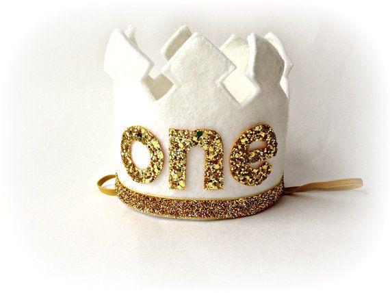 Erster Geburtstag Krone weiß Crown Stirnband groß - ein Jahr alt Geburtstag Stirnband
