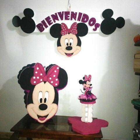 Combo de Piñata, Chupetero y Bienvenidos Minnie Mouse