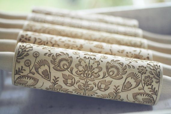 Gorgeous rolling pin featuring kashubian embroidery design which is very old and one of most recognised folk art of Northern Poland. Design is close