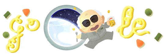 This makes the people at Google my favorite  people EVER. Except for Momofuku Ando, the creator of instant ramen, Cup Noodles, and space ramen, which he's holding in this cartoon!