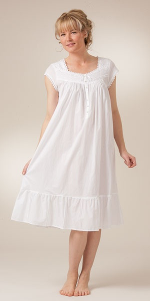 Cap Sleeve Mid-Length White Cotton Nightgowns by Eileen West | Serene Comfort