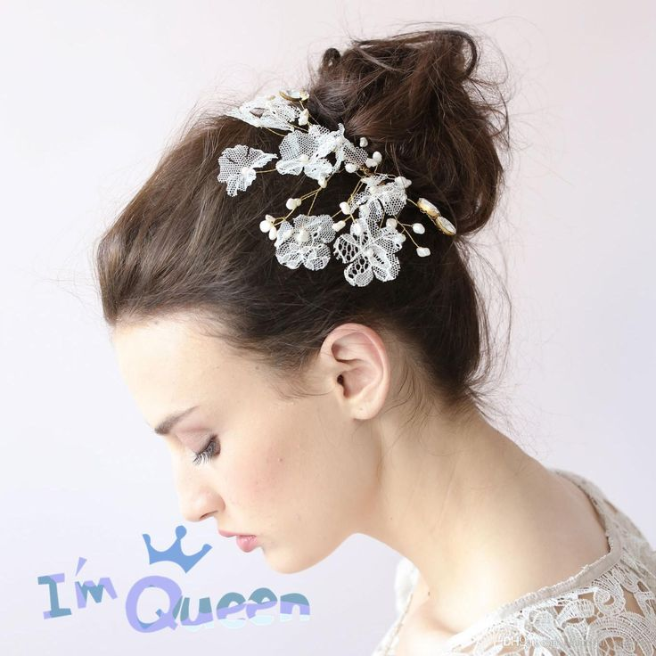 2015 Vintage Bridal Combs Clips Hair Cheap White Lace Bridal Hair Comb,  Flower Comb,