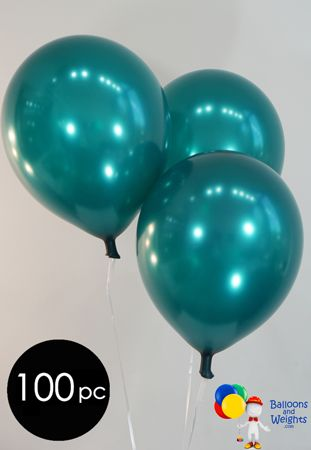 "12"" Metallic Teal Latex Balloons 