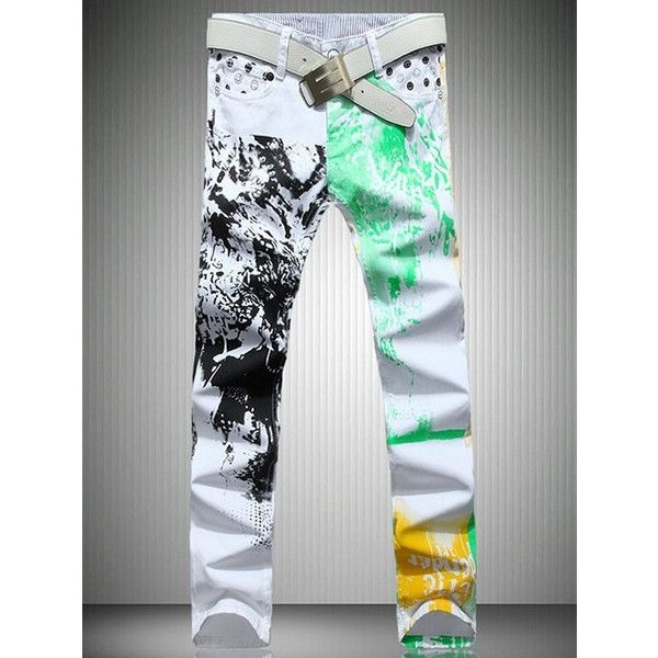 White Color Printed Straight Leg Jeans For Men ($23) ❤ liked on Polyvore featuring men's fashion, men's clothing, men's jeans, mens white jeans and mens straight leg jeans