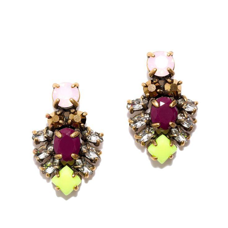 J.Crew women's dainty crystal stud earrings in citron.