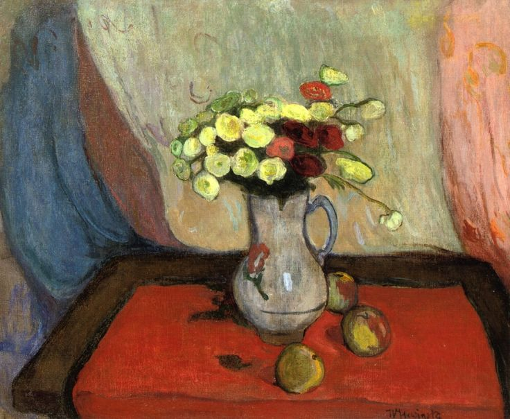 Vase of Flowers with Three Apples - Wladyslaw Slewinski - 1894