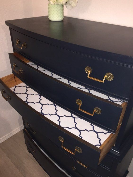 Beautiful antique navy dresser, cleaned and chalk painted by me. Cured with wax - all non toxic paints and products.   All drawers lined with high end paper and cleaned with Murphy's oil.   Th...