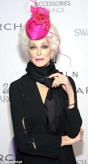 Defiant: Carmen Dell'Orefice, pictured in November, stoped dying her hair after her husband pulled out a white strand in bed