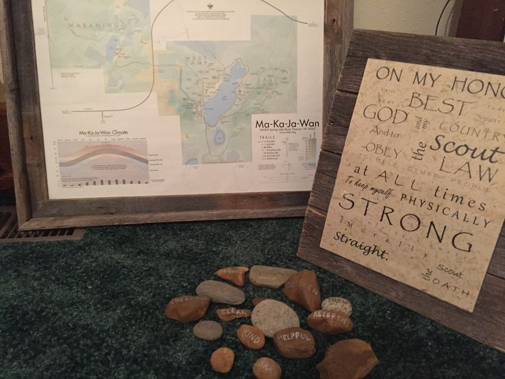 Boy Scout Oath, map of Boy Scout camp, rocks with the Boy Scout Law on them