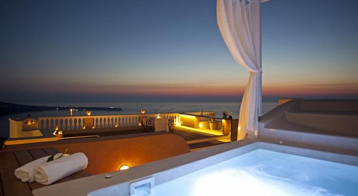 Stunning views from Oia Mansion's Jaccuzi.  Oia village, Santorini island, Greece. - www.oiamansion
