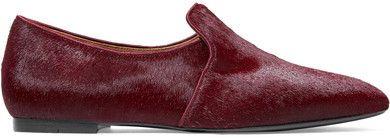The Row - Alys Calf Hair Loafers - Burgundy #affiliate