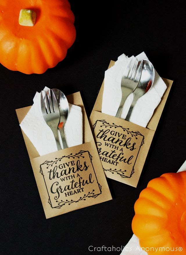 Make your Thanksgiving meal inspiring with these free printable utensil holders from Craftaholics Anonymous. Featuring a thankful quote, these holders will transform any tablescape and delight your guests.