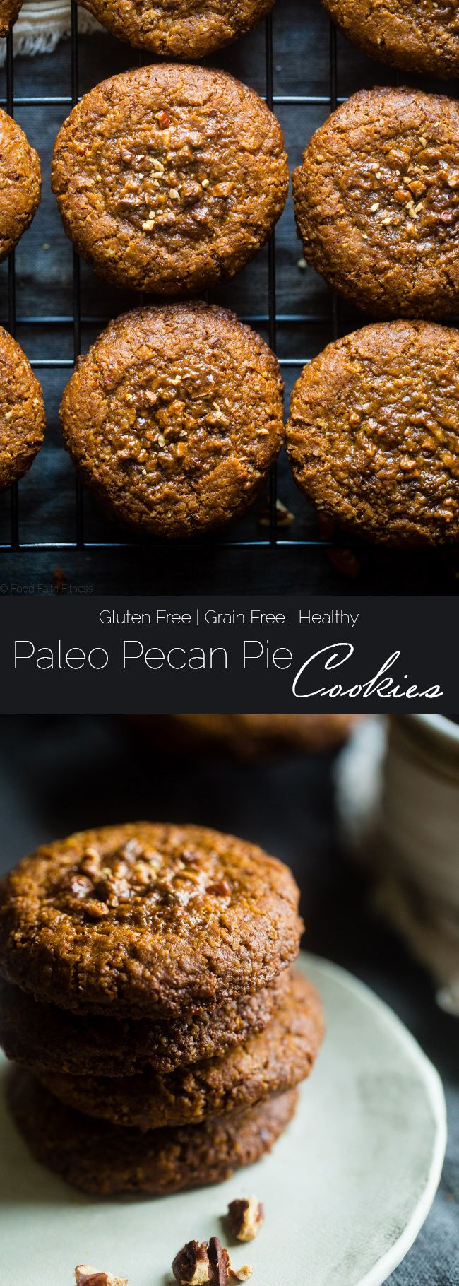 Pecan Pie Paleo Cookies - These easy cookies taste like pecan pie INSIDE a cookie because they have a sticky-sweet, crunchy pecan center! You'll never guess they're gluten free and healthier treat for the holidays! | Foodfaithfitness.com | @FoodFaithFit