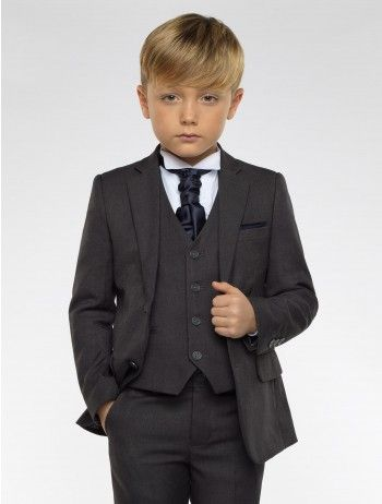 Boys charcoal grey suit with choice of 12 cravats - Charles