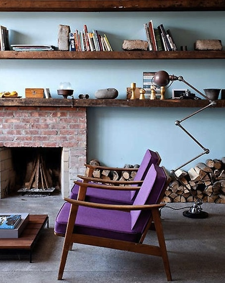 bookshelves, chairs.: Living Rooms, Idea, Blue Wall, Interiors, Colors, Wood Shelves, Purple Chairs, House, Design