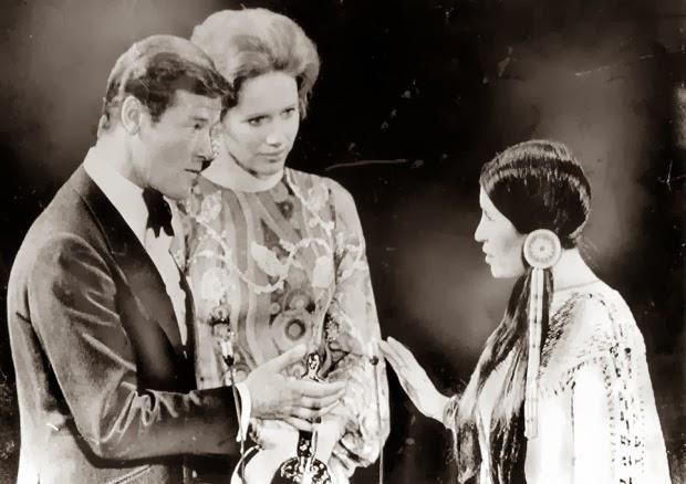 Sacheen Littlefeather refusing Marlon Brando's Oscar in his behalf to make a political statement decrying the stereotyping of Native Americans in movies and TV - March 5, 1973 -