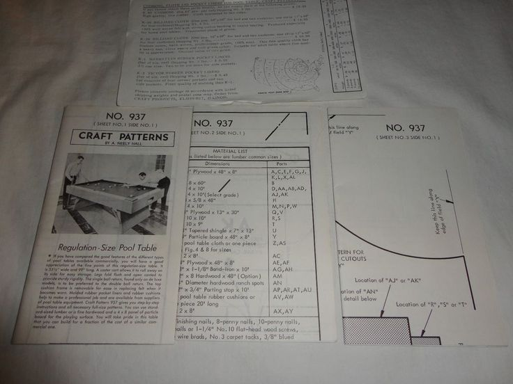 Vintage Craft Patterns by A. Neely Hall No. 937 Regulation Size Pool Table