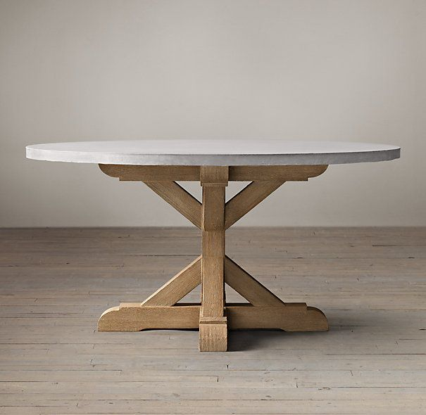 Salvaged Wood & Weathered Concrete X-Base Round Dining