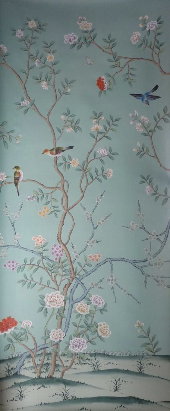 Hand Painted Wallpaper, Chinoiserie Wallpaper, Chinese Silk wallpaper, Hand Painted Embroidered Wallpaper, Hand Painted European Panoramic, Handmade Wallpaper, Hand Painted Silk Fabric for Curtain & Screen.