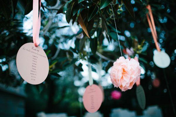 hanging seating chart http://weddingwonderland.it/2016/04/pompon-colorati-un-matrimonio-sanremo.html