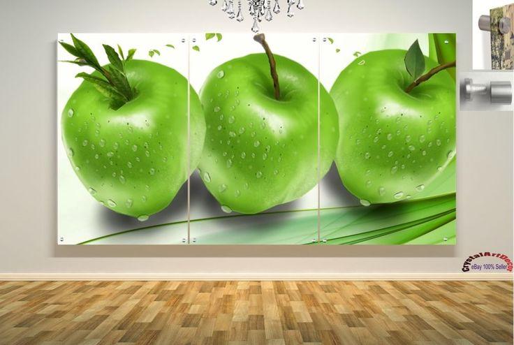 Wall Art Decor Floating Acrylic Glass Plexiglass Modern Art Green Apples #Handmade #Modern