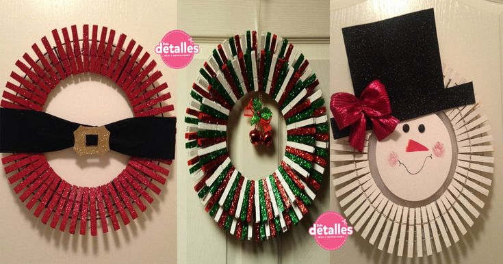 Corona+de+Navidad+con+pinzas+para+ropa