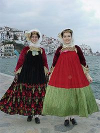 Traditional Skopelos Island wedding gown and red gown