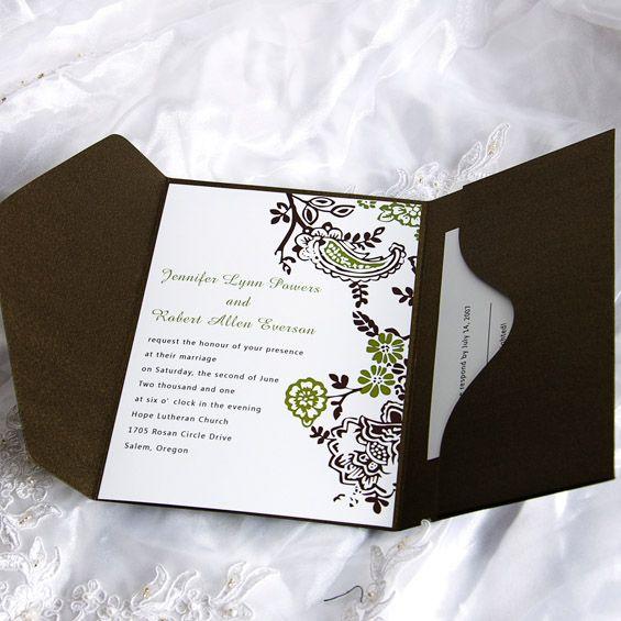 Cheap Wedding Invitations Free Response Card Printed Envelops VP Pocket