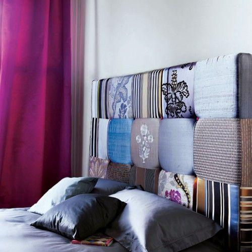 <3 DIY mixed fabrics headboard